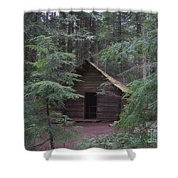 Shower Curtain featuring the photograph Longmire Log Cabin by Charles Robinson