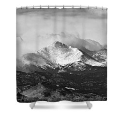Longs Peak And A Mean Storm Shower Curtain by James BO  Insogna