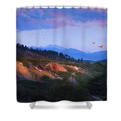 Longs Peak And Glowing Rocks Shower Curtain by J Griff Griffin