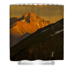 Shower Curtain featuring the photograph Long's Peak by Gary Lengyel