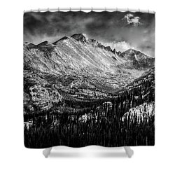 Longs Peak Rocky Mountain National Park Black And White Shower Curtain
