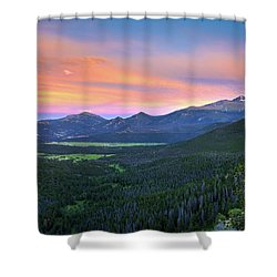 Shower Curtain featuring the photograph Longs Peak Sunset by David Chandler