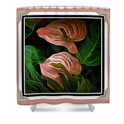 Shower Curtain featuring the mixed media Longwood Lilies by Trish Tritz