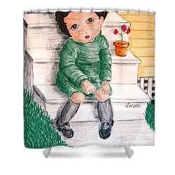Lonley Girl On Back Step Shower Curtain