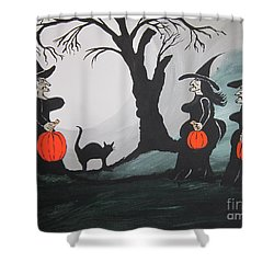 Shower Curtain featuring the painting Look At The Size Of Her Pumpkins by Jeffrey Koss