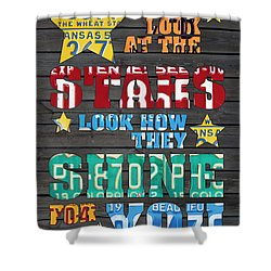 Look At The Stars Coldplay Yellow Inspired Typography Made Using Vintage Recycled License Plates Shower Curtain by Design Turnpike