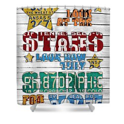 Look At The Stars Coldplay Yellow Inspired Typography Made Using Vintage Recycled License Plates V2 Shower Curtain by Design Turnpike