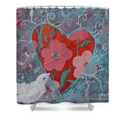 Shower Curtain featuring the painting Look Into My Heart  by Robin Maria Pedrero