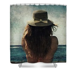 Looking At The Horizon Shower Curtain