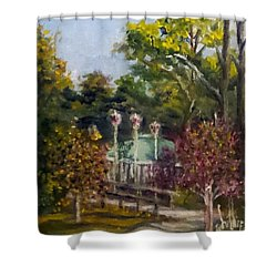 Shower Curtain featuring the painting Looking Back At The Vietnam Memorial by Jim Phillips