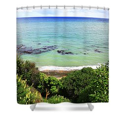 Shower Curtain featuring the photograph Looking Down To The Beach by Nareeta Martin