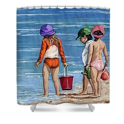 Looking For Seashells Children On The Beach Figurative Original Painting Shower Curtain