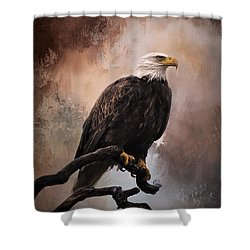 Looking Forward - Eagle Art Shower Curtain by Jordan Blackstone