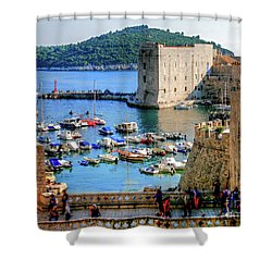 Looking Out Onto Dubrovnik Harbour Shower Curtain