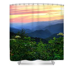Looking Out Over Woolyback On The Blue Ridge Parkway  Shower Curtain