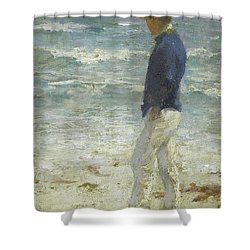Shower Curtain featuring the painting Looking Out To Sea by Henry Scott Tuke