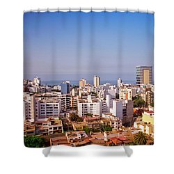 Shower Curtain featuring the photograph Looking Towards The Sea - Miraflores by Mary Machare