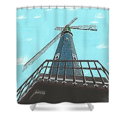 Looking Up At A Windmill Shower Curtain