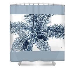 Shower Curtain featuring the photograph Looking Up At Palm Tree Blue by Ben and Raisa Gertsberg