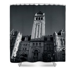 Looking Up At The Trump Hotel In Black And White Shower Curtain