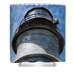 Looking Up Portland Head Light Shower Curtain by Dominic White
