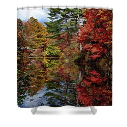 Shower Curtain featuring the photograph Looking Up The Chocorua River by Jeff Folger