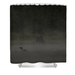Loon And Moose In The Mist Shower Curtain