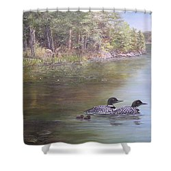 Loon Family 1 Shower Curtain