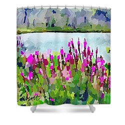 Loosestrife Blooming At Sleepy Hollow Pond Shower Curtain