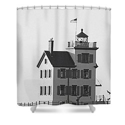 Lorain Lighthouse In Black And White Shower Curtain