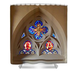 Shower Curtain featuring the digital art Loretto Chapel Stained Glass Window by Ann Johndro-Collins