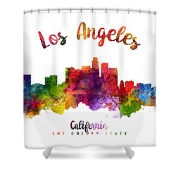 Los Angeles California Skyline 23 Shower Curtain by Aged Pixel