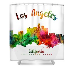 Los Angeles California Skyline 24 Shower Curtain by Aged Pixel