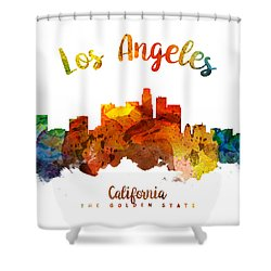 Los Angeles California Skyline 26 Shower Curtain by Aged Pixel