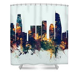 Los Angeles California Skyline Panoramic Shower Curtain