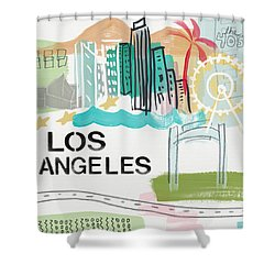 Los Angeles Cityscape- Art By Linda Woods Shower Curtain by Linda Woods