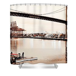 Los Angeles Harbor In Sepia Shower Curtain