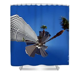 Los Angeles Highrise Palm Tree Abstract Shower Curtain