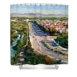 Los Angeles - Playa Vista From South Bluff Trail Road Shower Curtain by Peter Salwen