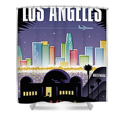 Los Angeles Retro Travel Poster Shower Curtain
