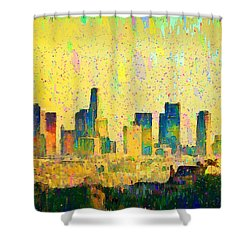 Los Angeles Skyline 1 - Pa Shower Curtain