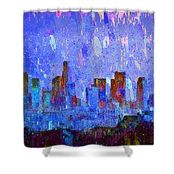 Los Angeles Skyline 2 - Pa Shower Curtain