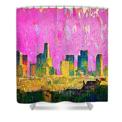 Los Angeles Skyline 8 - Pa Shower Curtain