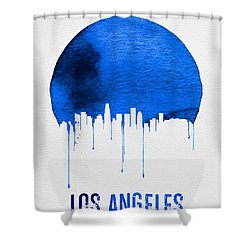 Los Angeles Skyline Blue Shower Curtain