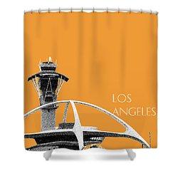 Los Angeles Skyline Lax Spider - Orange Shower Curtain by DB Artist