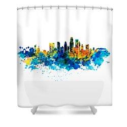 Los Angeles Skyline Shower Curtain by Marian Voicu