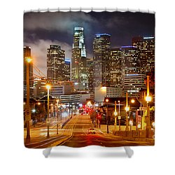 Los Angeles Skyline Night From The East Shower Curtain