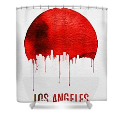 Los Angeles Skyline Red Shower Curtain