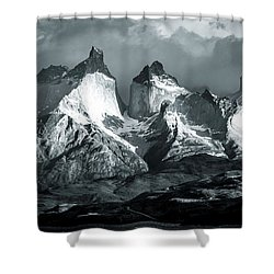 Los Cuernos In Black And White Shower Curtain by Andrew Matwijec