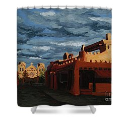 Shower Curtain featuring the painting Los Farolitos,the Lanterns, Santa Fe, Nm by Erin Fickert-Rowland